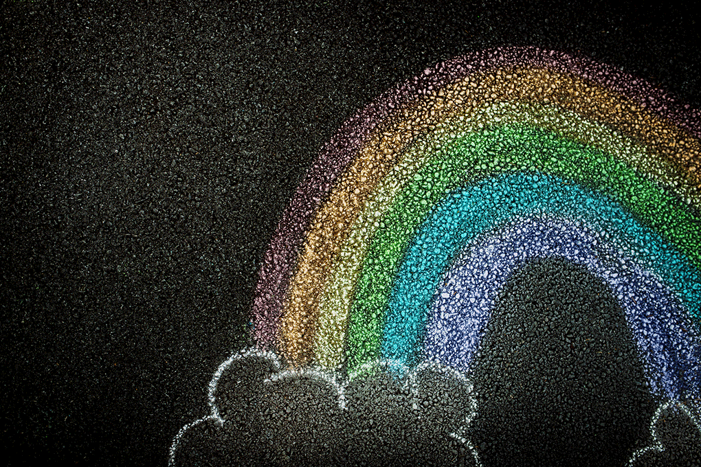 Drawn rainbow.